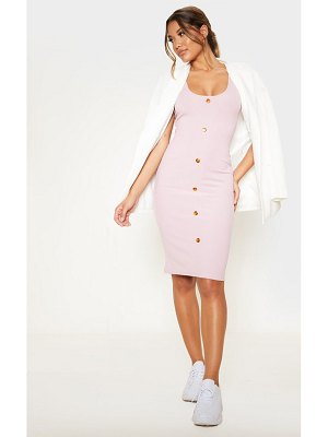 PrettyLittleThing dusty lilac ribbed scoop tortoise shell button bodycon dress