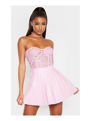 PrettyLittleThing dusty lilac sheer lace structured corset top