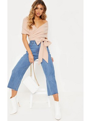 PrettyLittleThing dusty pink bandeau wrap front crop top
