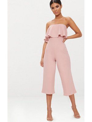PrettyLittleThing dusty pink bardot double layer culotte jumpsuit