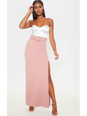 PrettyLittleThing dusty pink belted extreme split maxi skirt