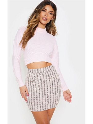 PrettyLittleThing dusty pink boucle pocket detail mini skirt