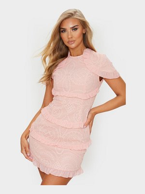PrettyLittleThing dusty pink broderie anglaise frill bodycon dress