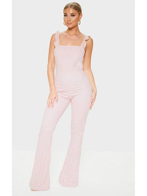 PrettyLittleThing dusty pink broderie anglaise sleeveless flared leg jumpsuit