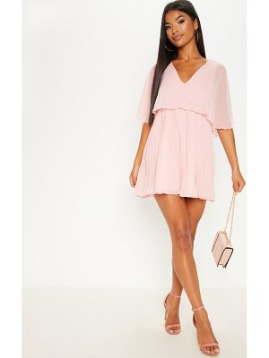 PrettyLittleThing dusty pink cape pleated detail skater dress