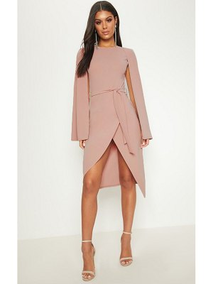 PrettyLittleThing dusty pink cape style wrap midi dress