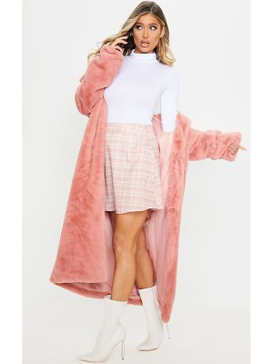 PrettyLittleThing dusty pink check a line mini skirt