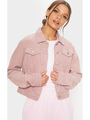 PrettyLittleThing dusty pink cord cropped denim jacket