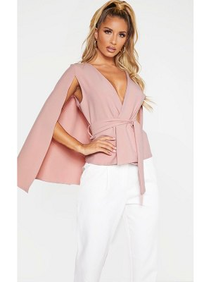 PrettyLittleThing dusty pink crepe belted cape blazer