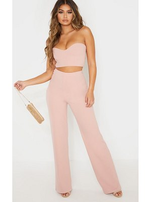 PrettyLittleThing dusty pink crepe high waisted wide leg pants