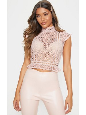 PrettyLittleThing dusty pink crochet high neck sleeveless blouse