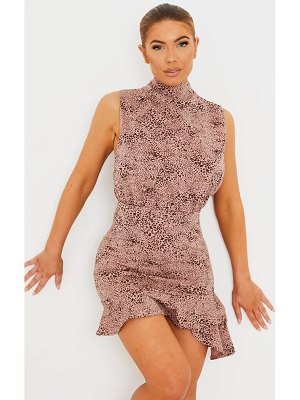 PrettyLittleThing dusty pink dalmatian high neck frill hem bodycon dress