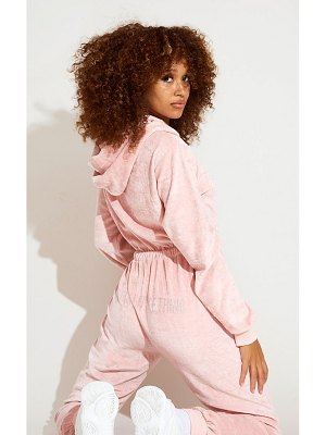 PrettyLittleThing dusty pink diamante velour jumpsuit