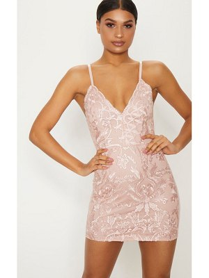 PrettyLittleThing dusty pink embroidered lace detail plunge bodycon dress