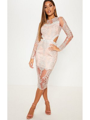 PrettyLittleThing dusty pink embroidered lace embellishment detail cut out midi dress