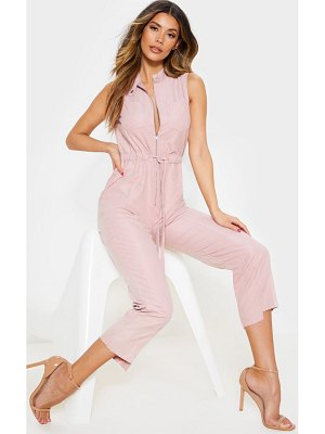 PrettyLittleThing dusty pink faux suede high neck zip detail jumpsuit