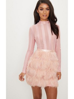 PrettyLittleThing dusty pink feather skirt bodycon dress