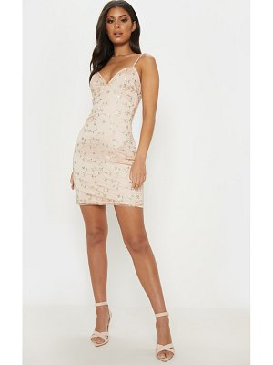 PrettyLittleThing dusty pink floral embroidered bodycon dress