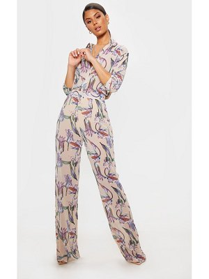 PrettyLittleThing dusty pink floral print wide leg pants