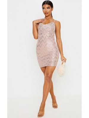 PrettyLittleThing dusty pink glitter sequin detail strappy cowl neck bodycon dress