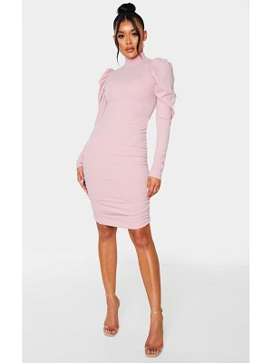 PrettyLittleThing dusty pink high neck ruched bodycon dress