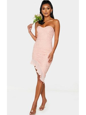 PrettyLittleThing dusty pink lace bandeau chiffon frill bodycon dress