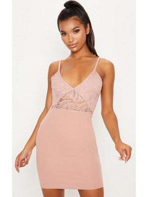 PrettyLittleThing dusty pink lace detail bodycon dress