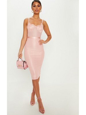 PrettyLittleThing dusty pink lace detail striped mesh midi dress