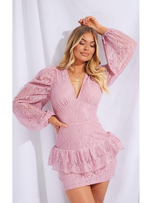 PrettyLittleThing dusty pink lace frill detail plunge bodycon dress