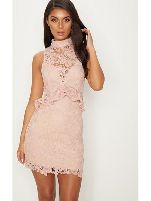 PrettyLittleThing dusty pink lace high neck frill detail bodycon dress