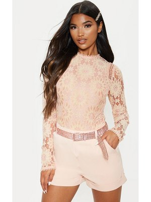 PrettyLittleThing dusty pink lace long sleeve bodysuit