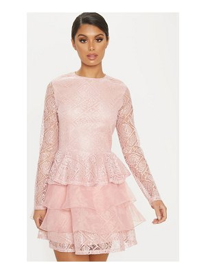PrettyLittleThing dusty pink lace long sleeve tiered skater dress