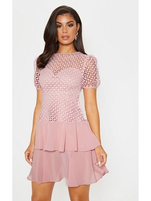 PrettyLittleThing dusty pink lace puff sleeve shift dress