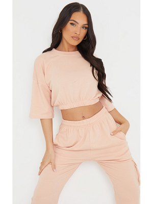PrettyLittleThing dusty pink lightweight short sleeve cropped sweater