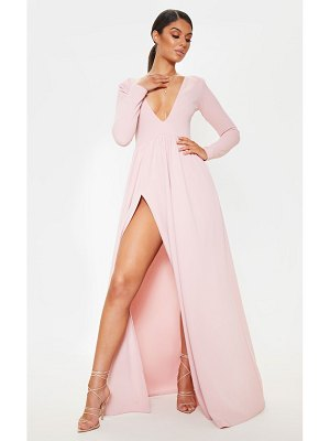 PrettyLittleThing dusty pink long sleeve plunge maxi dress