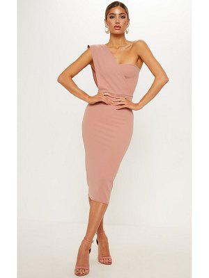 PrettyLittleThing dusty pink one shoulder draped midi dress