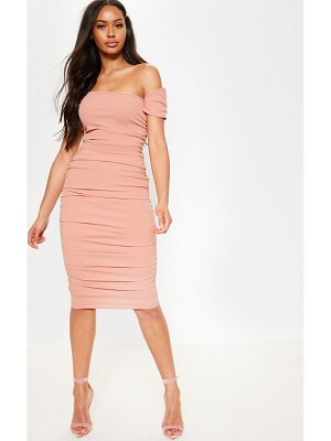 PrettyLittleThing dusty pink one shoulder ruched detail bodycon dress