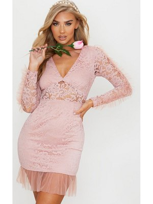 PrettyLittleThing dusty pink organza frill lace bodycon dress
