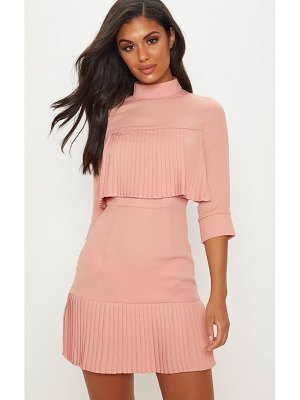PrettyLittleThing dusty pink pleated detail frill hem bodycon dress