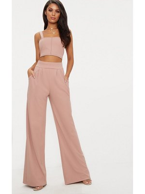 PrettyLittleThing dusty pink pleated front wide leg pants