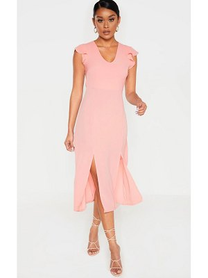 PrettyLittleThing dusty pink plunge frill sleeve split detail midi dress