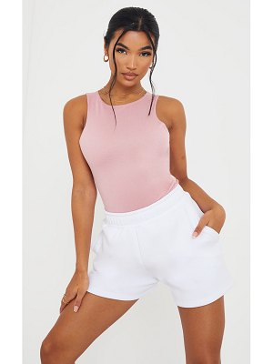 PrettyLittleThing dusty pink ponte racer back thong bodysuit