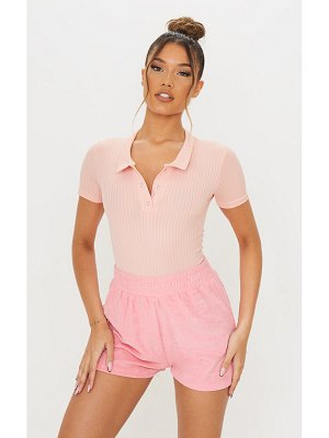 PrettyLittleThing dusty pink rib polo bodysuit