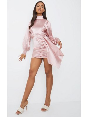 PrettyLittleThing dusty pink satin balloon sleeve ruched drape bodycon dress