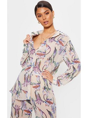 PrettyLittleThing dusty pink floral oversized shirt