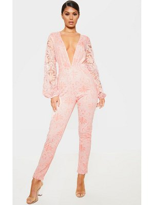 PrettyLittleThing dusty pink sheer paisley long sleeve jumpsuit