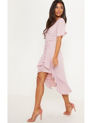 PrettyLittleThing dusty pink short sleeve ruched midi dress