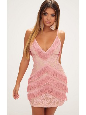 PrettyLittleThing dusty pink strappy lace tassel detail bodycon dress
