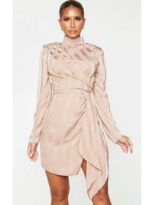PrettyLittleThing dusty pink striped high neck draped bodycon dress