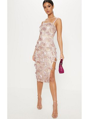 PrettyLittleThing dusty pink tassel sequin strappy midi dress